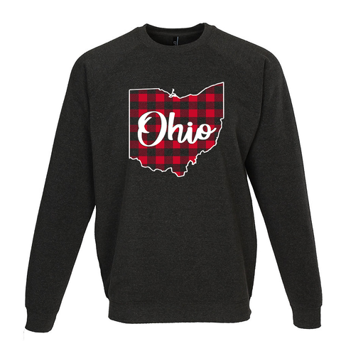 Wage War Apparel  Buffalo Plaid Ohio Crewneck