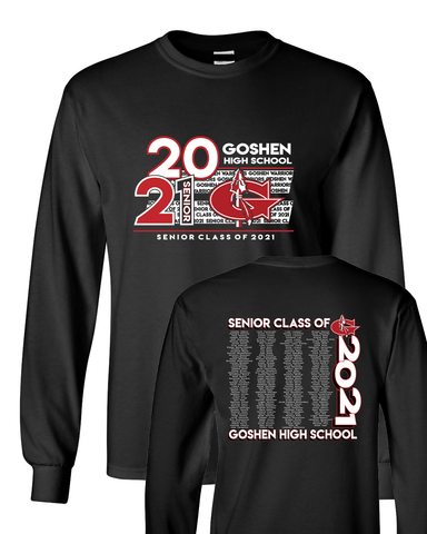 Goshen Warrior Class of 2021 Official Long Sleeve shirt with names!