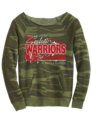 Always a Warrior Ladies Camo scoop neck Sweatshirt