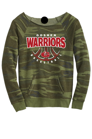 Warrior Basketball Season Camo scoop neck Sweatshirt