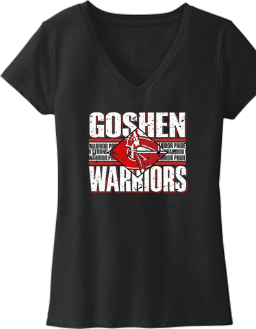 Goshen Warriors Vintage Diamond Design 2 Ladies V-NECK