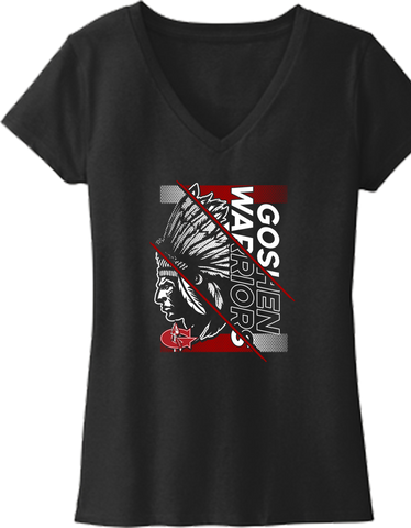 Goshen Warriors Giant Logo Design 4 Ladies V-NECK