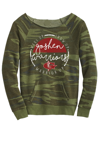 WarriorUp! Circle Ladies Camo scoop neck Sweatshirt