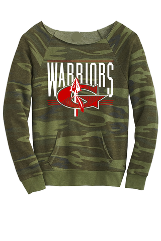 Warriors Stripe G Ladies Camo scoop neck Sweatshirt