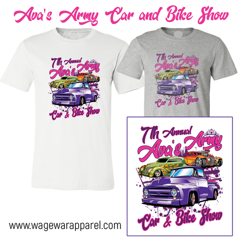 7th Annual Ava's Army Car & Bike Show Official T-Shirt