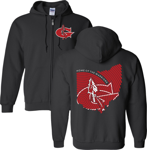 Goshen Warriors Thumbprint Design 3 Zip-Up Hoodie