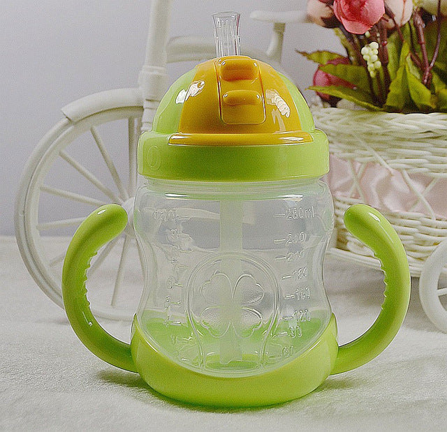 Straw Handle Baby Feeding Bottle