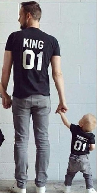 2070707483 Summer Family Matching Outfits Matching Father Mother Daughter Son Clothes  Cotton Short Sleeve T-shirt King Queen Family Look