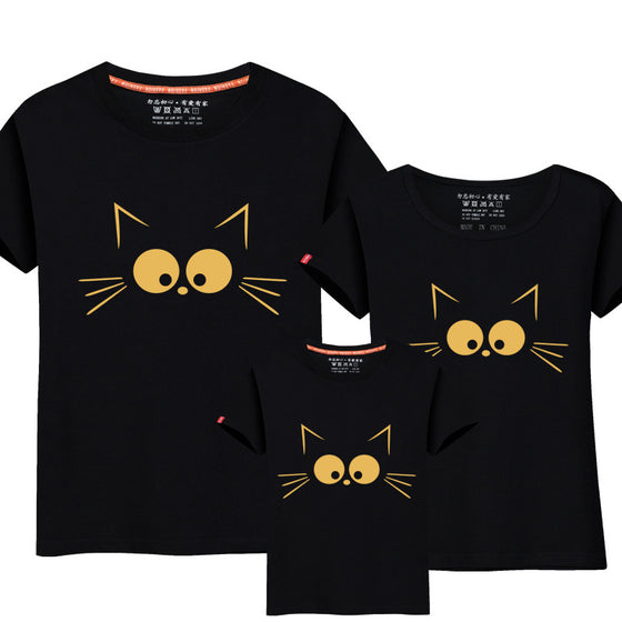 4faf2809c10 1Piece Matching Mother Daughter Clothes Cute Cat Print Family Look Family  Matching Parent-child Outfit