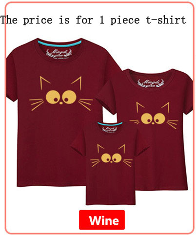f5ffb59d3b797 1Piece Matching Mother Daughter Clothes Cute Cat Print Family Look Family  Matching Parent-child Outfit Ma e Filha Mommy T-shirts