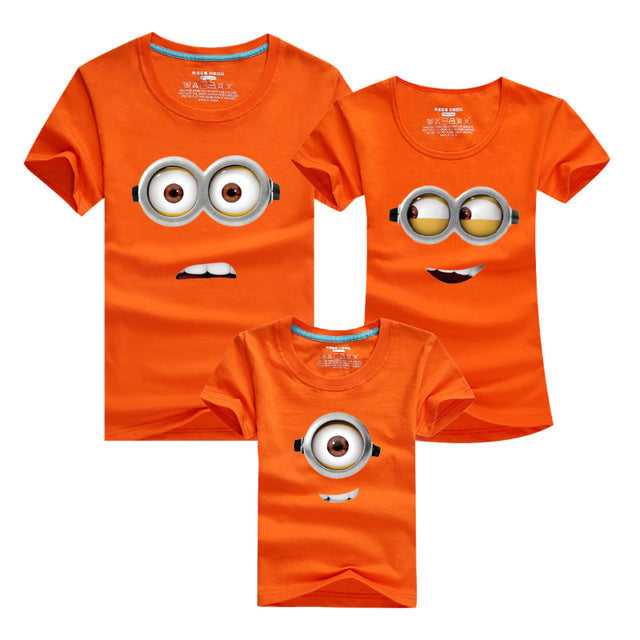 dd4aabf073 1PCS Cotton Family Matching Outfits Minions T Shirts mother & kids T-shirt  Family Clothing Mother And Daughter Clothes