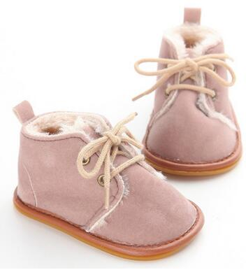 e06964ffe5f New Suede Leather with Fur solid Newborn Baby boot toddler Girl boy First  Walkers shoes lace-up super warm Plush boots