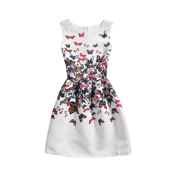 Girls Butterfly Floral Print Dress