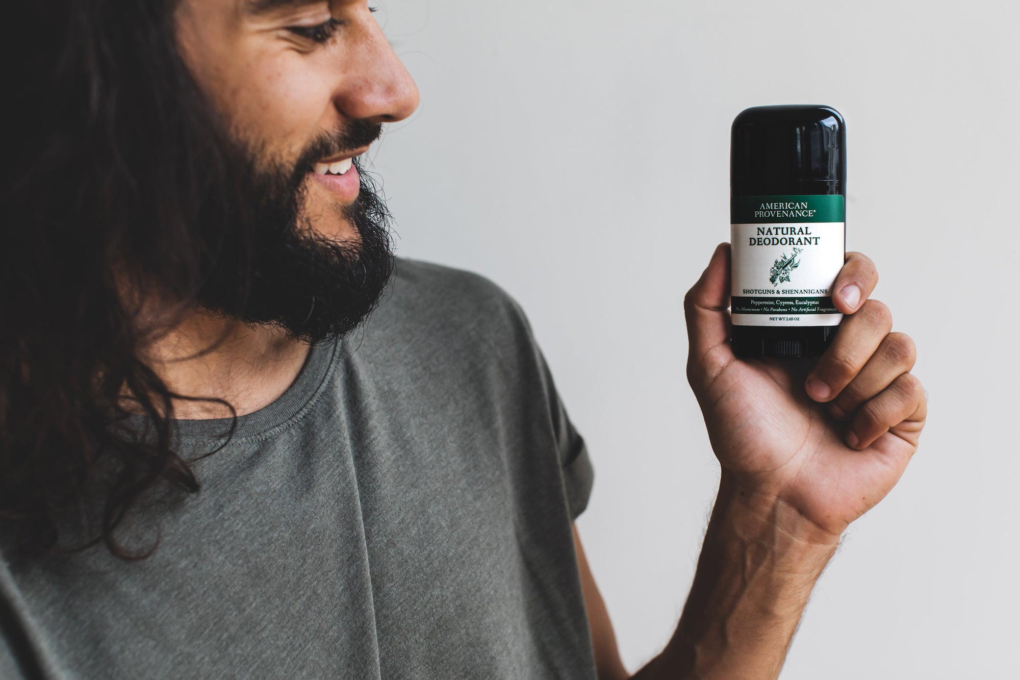 Man Holding Natural Deodorant