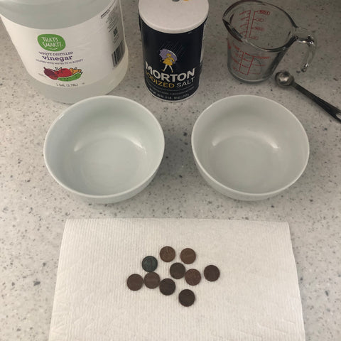 At Home Experiment: Chemical Reactions, Pennies, Vinegar, Salt