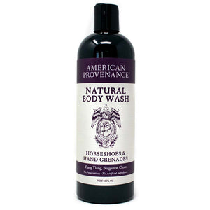 American Provenance Natural Body Wash 16 fl oz Horseshoes & Hand Grenades Scent (Ylang Ylang, Bergamot, Clove)