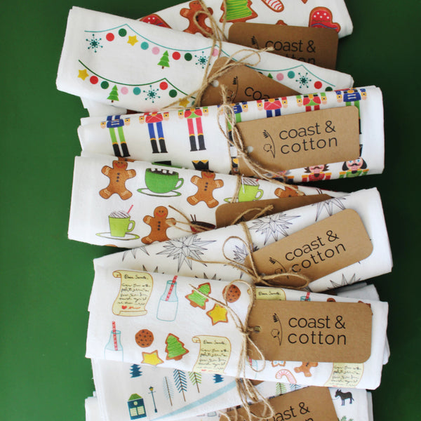 Coast and Cotton Christmas Tea Towels