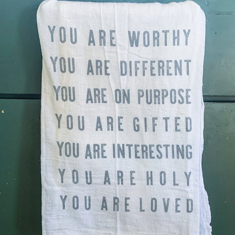 You Are Worthy Tea Towel by Milk Moon House