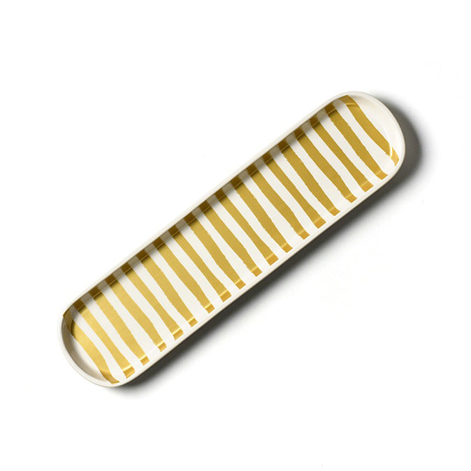 Gold Stripe Scoop Oval Tray