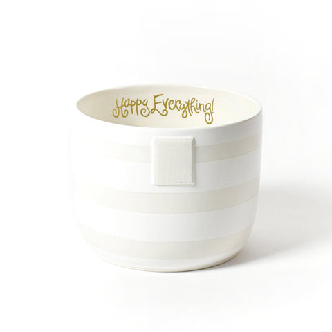 Happy Everything White Stripe Bowl