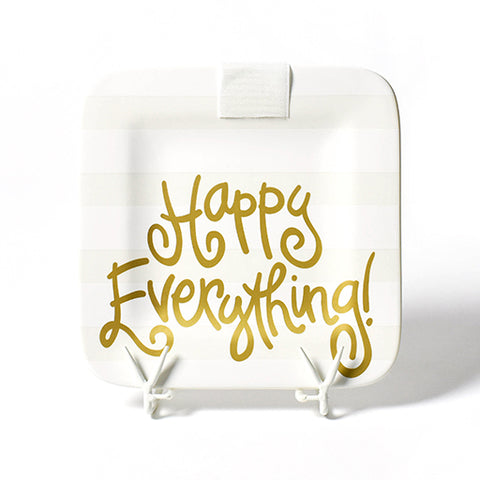 Happy Everything White Stripe Mini Platter