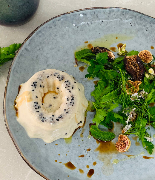 Savoury Miso and Mushroom Panna Cotta with Fig and Garden Green Salad