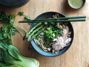 Asparagus, Chicken and Hokkien Noodle Soup Recipe