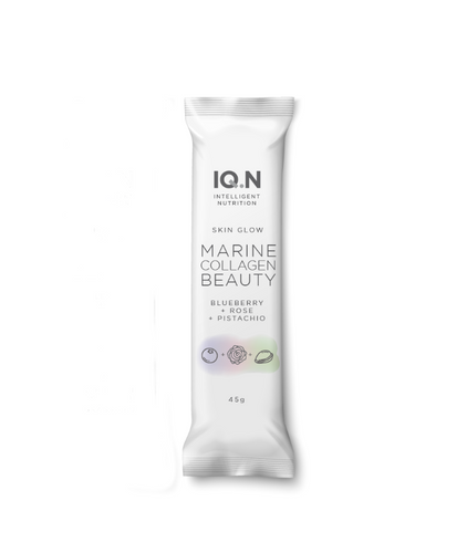 IQ.N Skin Glow Marine Collagen Beauty  Bar - Blueberry, Rosewater and Pistachio 45g Single Bar