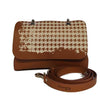 File bag Cognac Pied de Poule Clutch