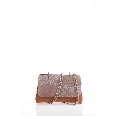 File Bag India Cognac Inlay Clutch