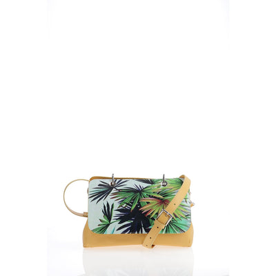 File Bag India Mustard Palms Clutch