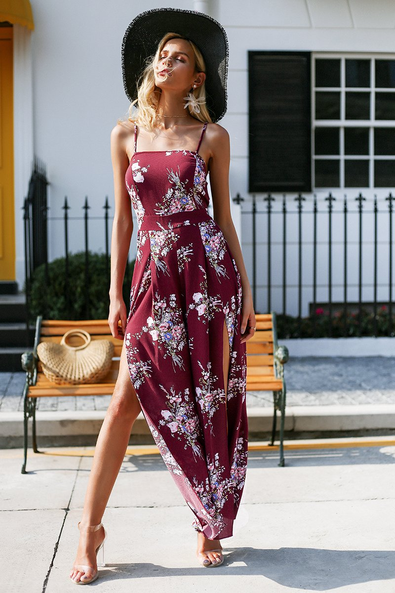 Gracie Split Wide Leg Jumpsuit - Burgundy