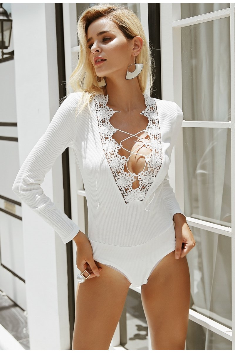 Lace Up Plunge Bodysuit