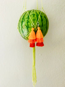 Stacked Tassel Earrings | Orange