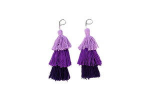 Stacked Tassel Earrings | Lavender
