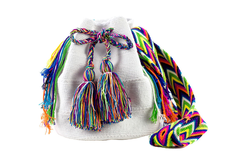 Wayuu Mochila Bag White + Colors