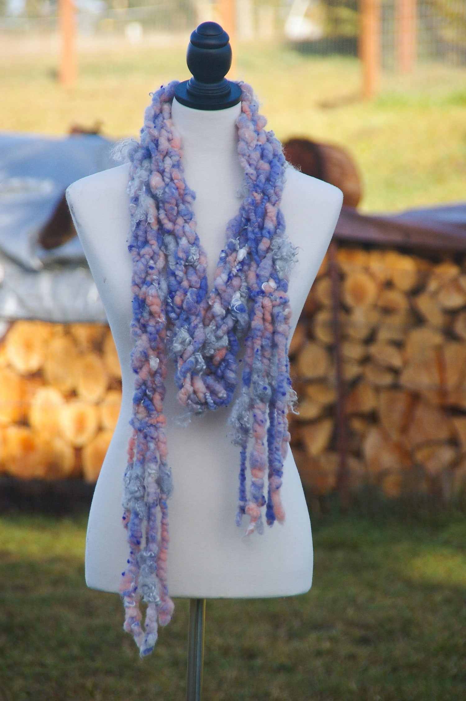 """Cotton Candy"" Art Yarn Braided Scarf - Not Your Grandma's Yarn"