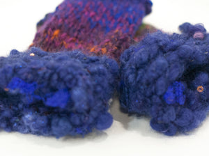 """Purple Passion"" Handspun Art Yarn Fingerless Mitts - Not Your Grandma's Yarn"