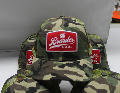 Trucker Snapback Camo hat with Red Patch