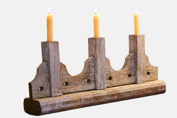 Reclaimed banister railing candle