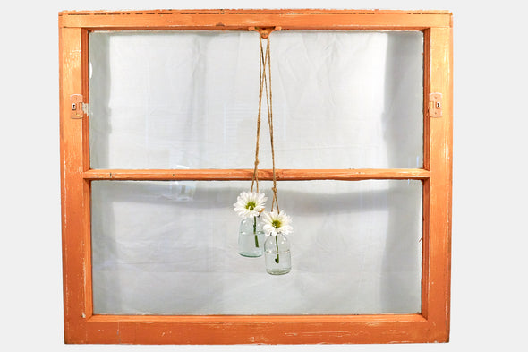 Reclaimed vintage window in orange