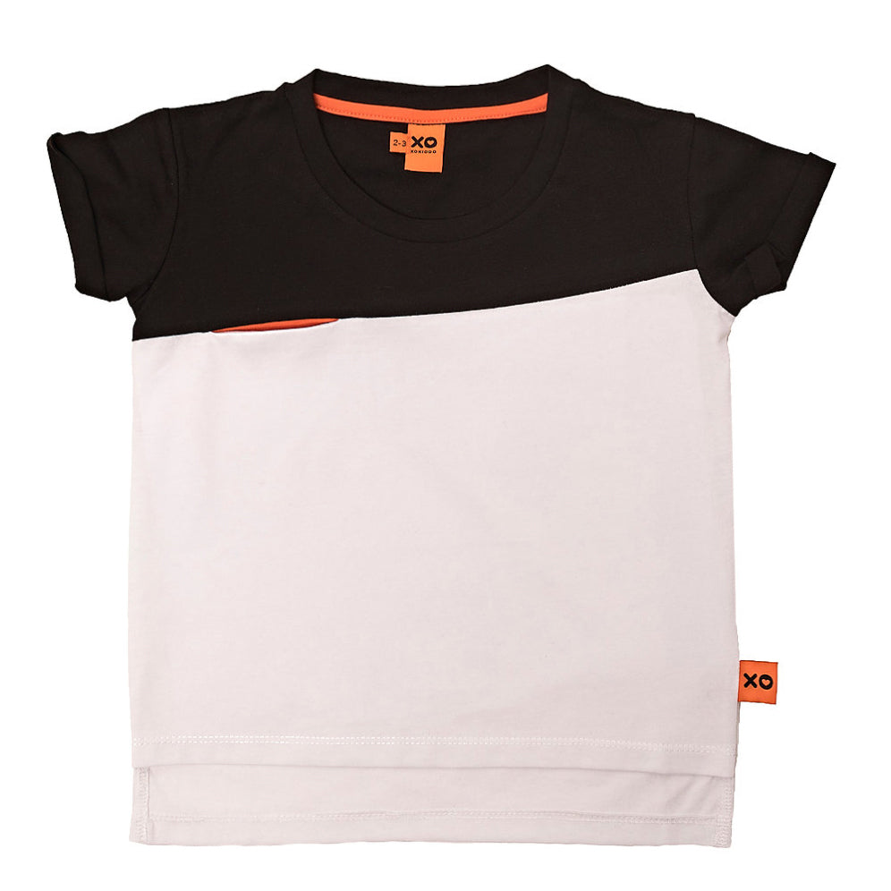 Relaxed Black and White Colour-Block Tee