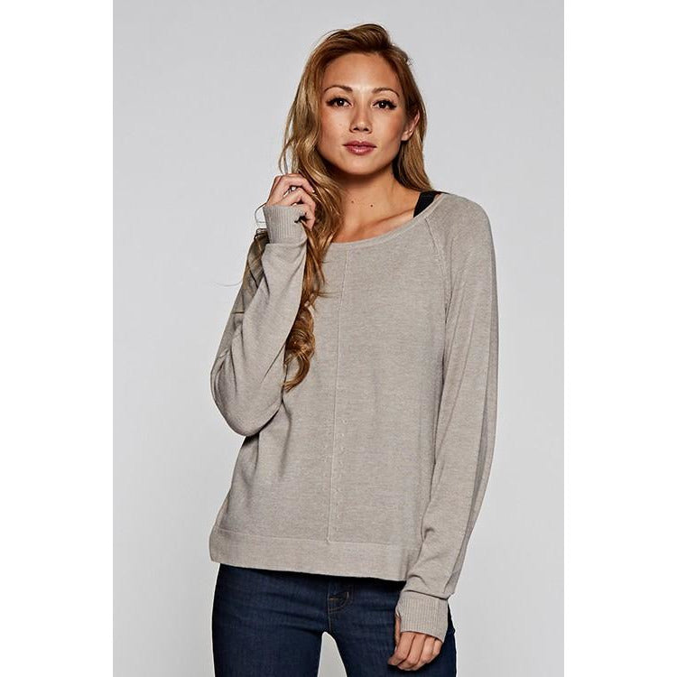 ZMushroom Grey Thumb Sleeve Sweater - The Boho Sophisticate