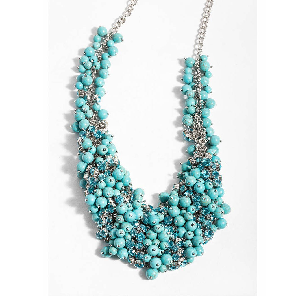 Pearl and Crystal Turquoise Statement Necklace - The Boho Sophisticate