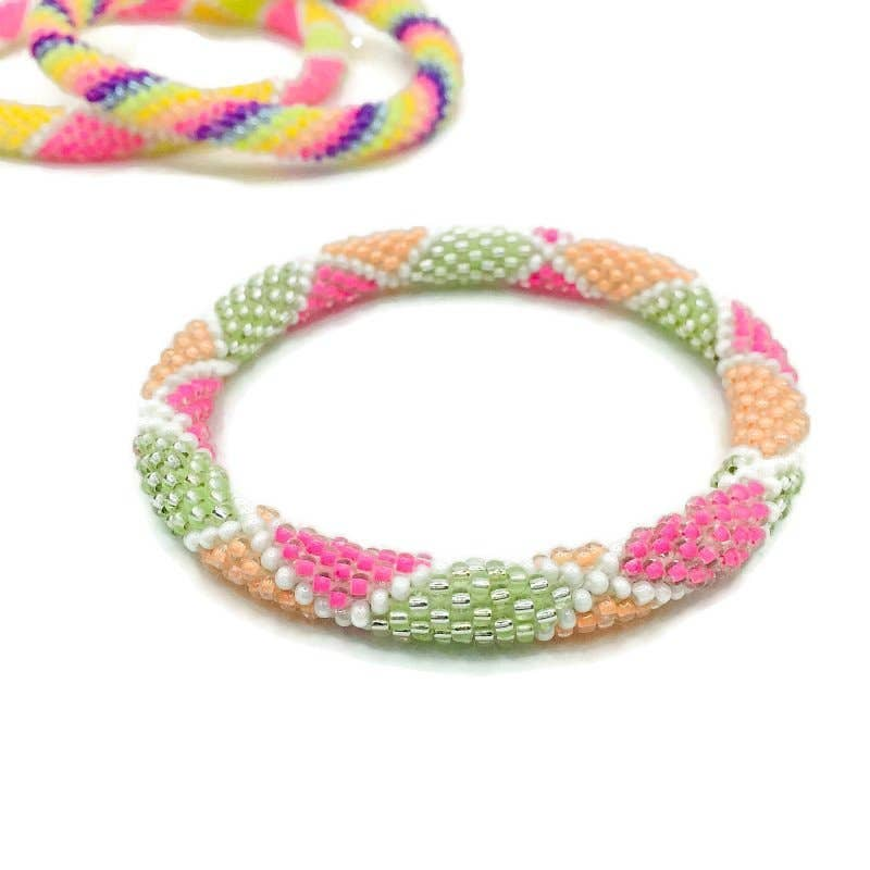 Liftedhope Bracelets - Multi-color Neon Rolling Nepal bracelet For Teens - The Boho Sophisticate