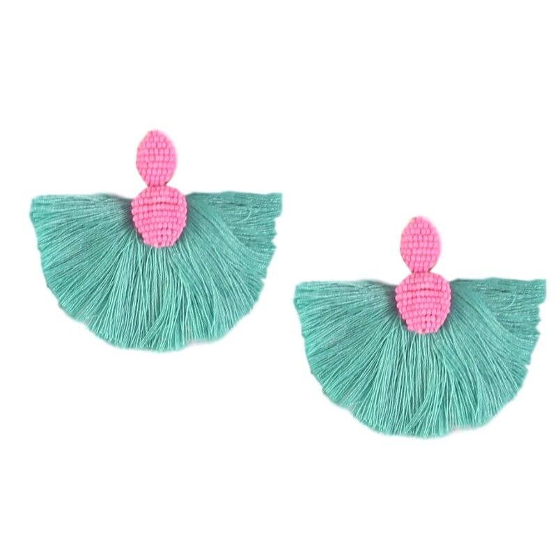Pink and Teal Fan Tassel Earrings - The Boho Sophisticate