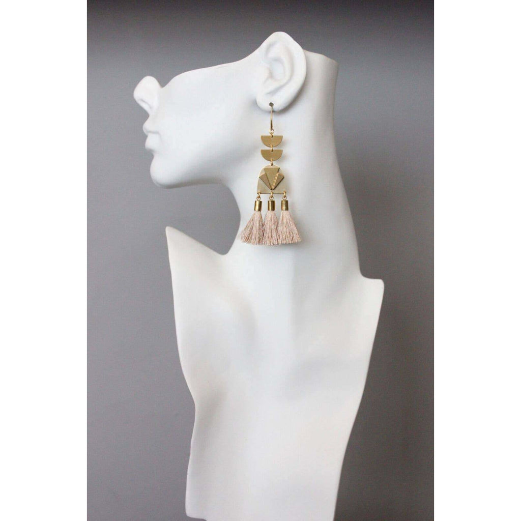Brass and Silk Rose Tassel Drop Earrings - The Boho Sophisticate