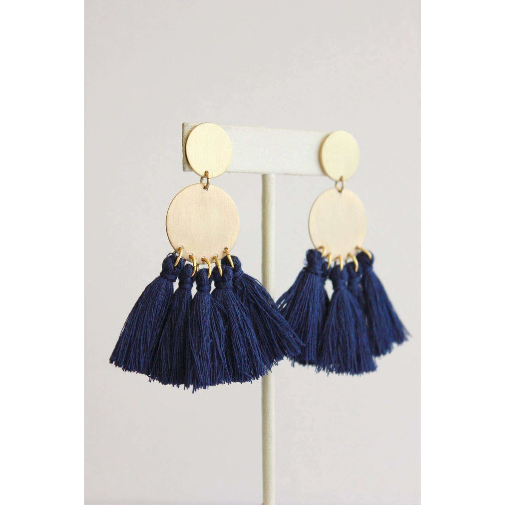 Brass Earrings with Navy Tassels - The Boho Sophisticate