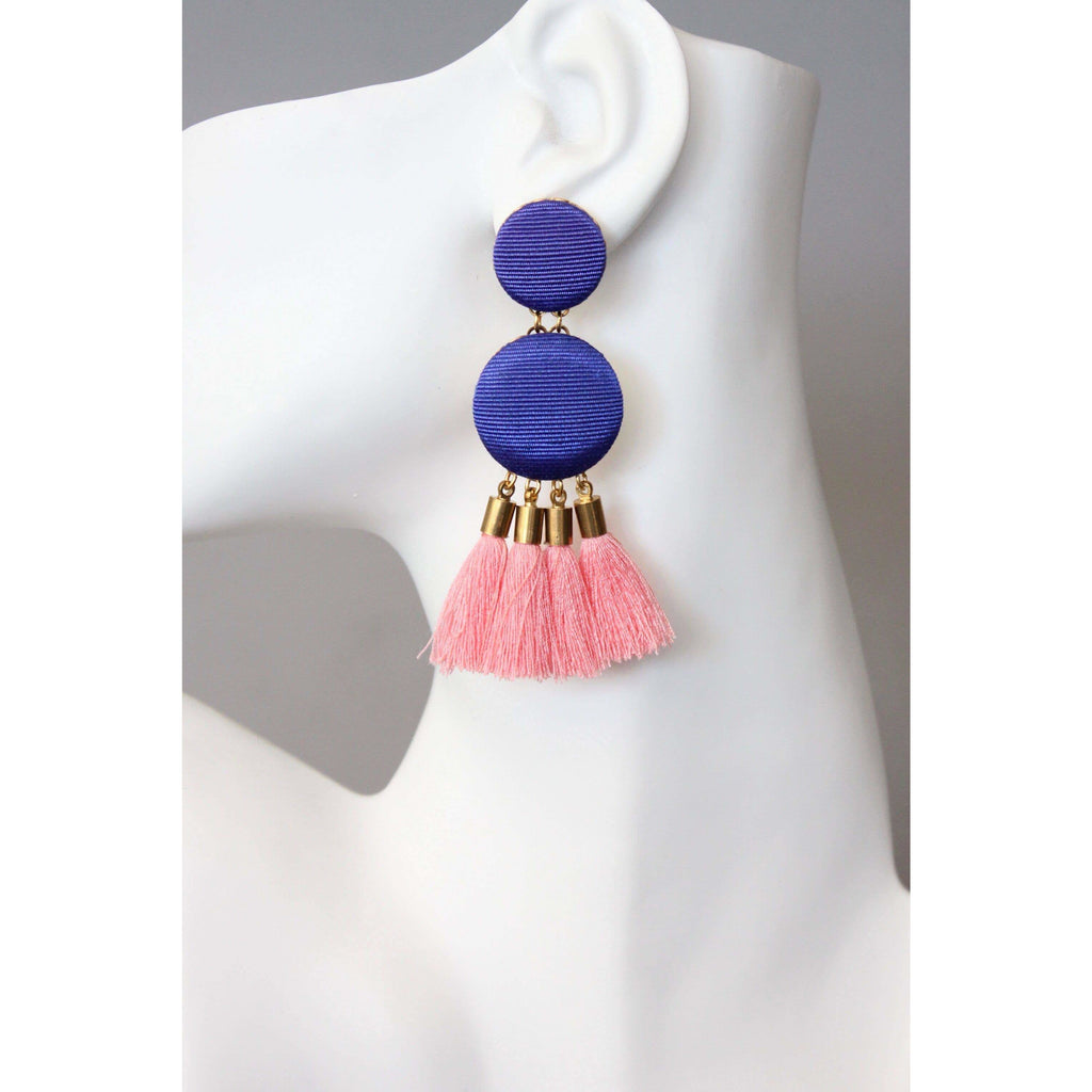 Blue Button Earrings with Pink Tassel - The Boho Sophisticate