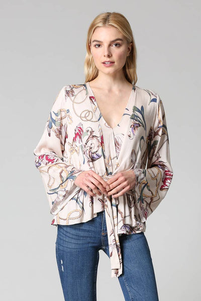 Sloan Floral Printed Tie Front Blouse - The Boho Sophisticate